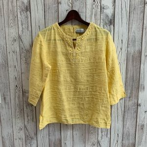Alfred Dunner yellow top with beading size 12P